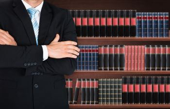 lawyer in a lawyers library